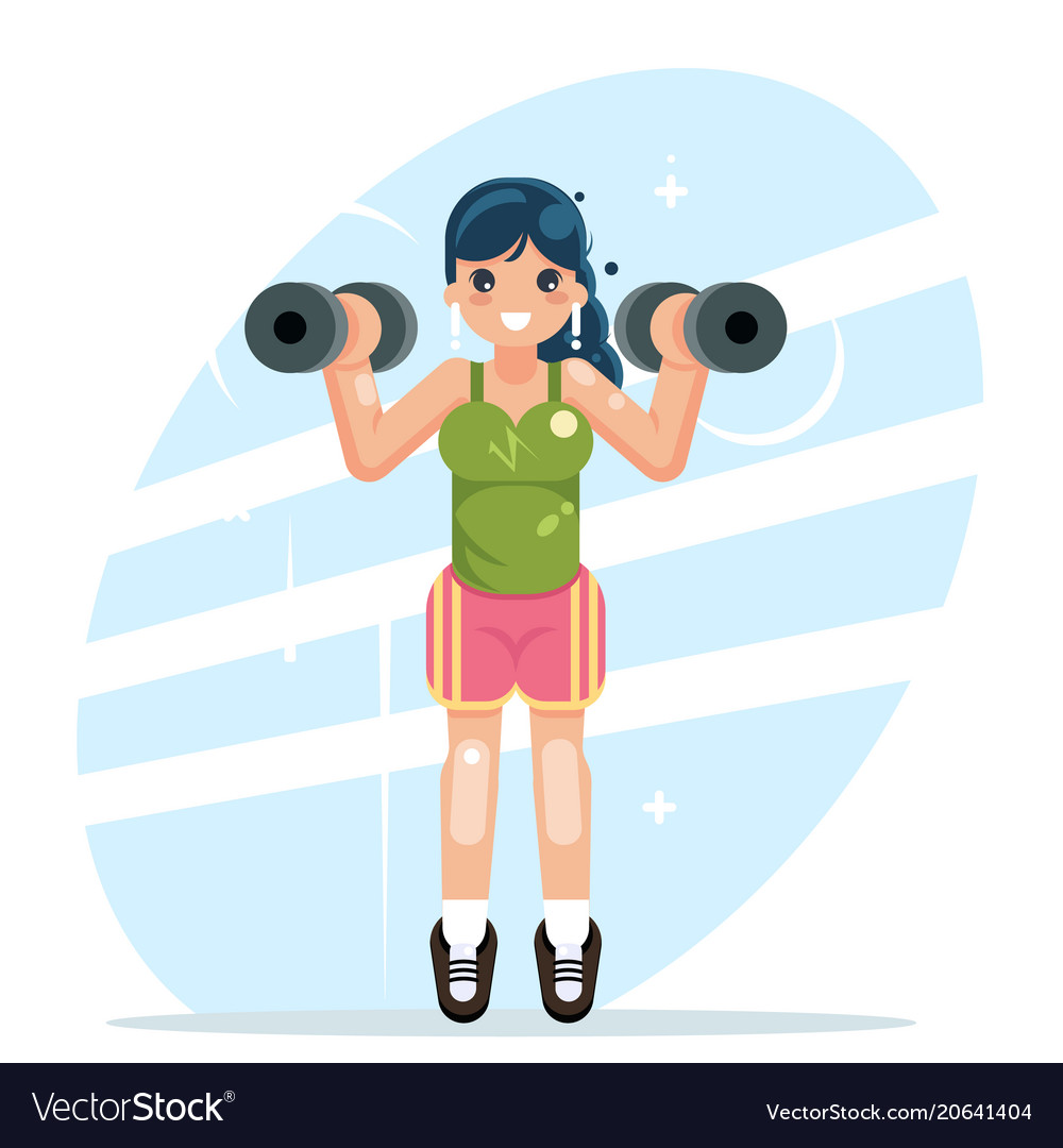 Sports girl engaged in fitness sports dumbbells vector image