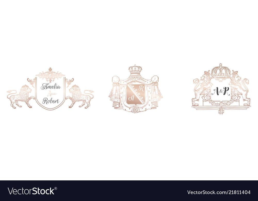 Wedding monogram collection invitation cards