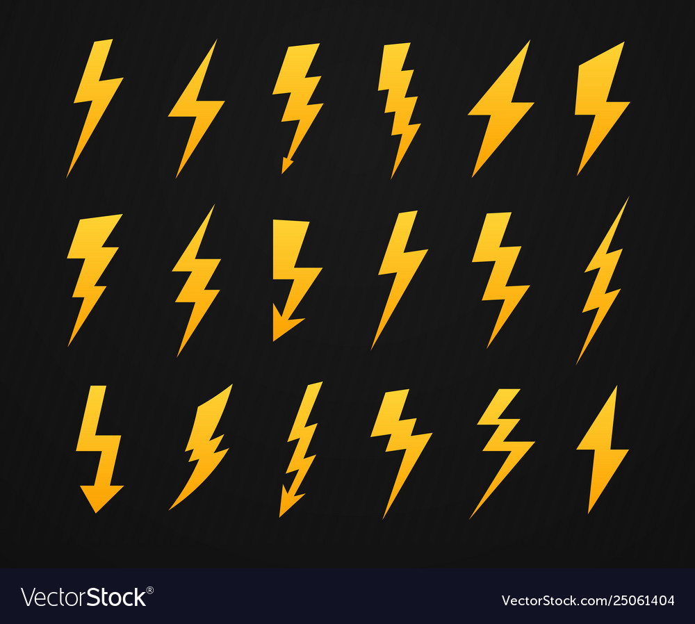 Yellow lightning silhouette electrical power high