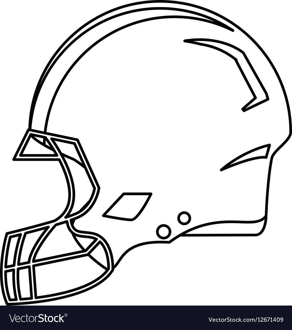 American Football Helmet Protection Outline Vector Image
