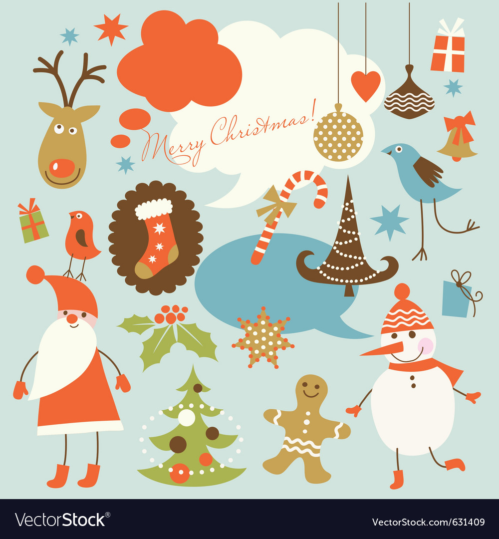 Christmas background collection of icons