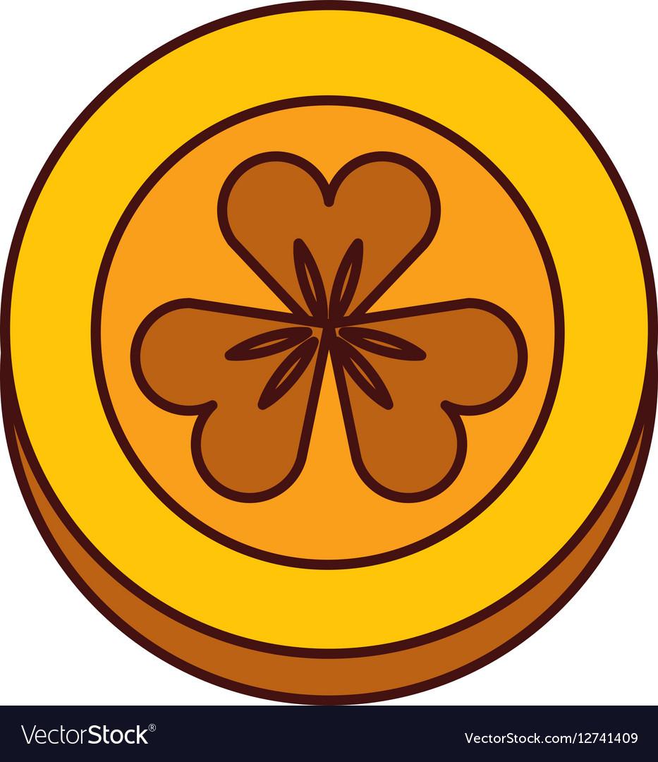 Coin with Saint patricks clover icon