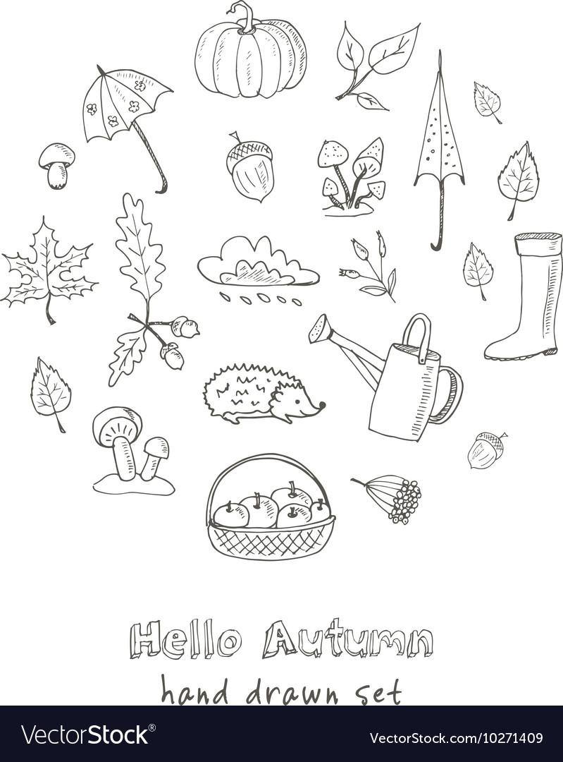 Cute hand drawn autumn set