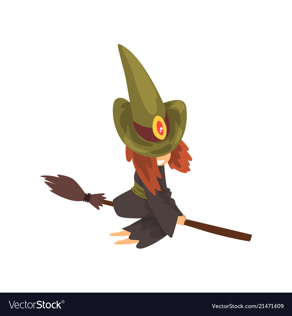 Cute little witch character in green hat flying