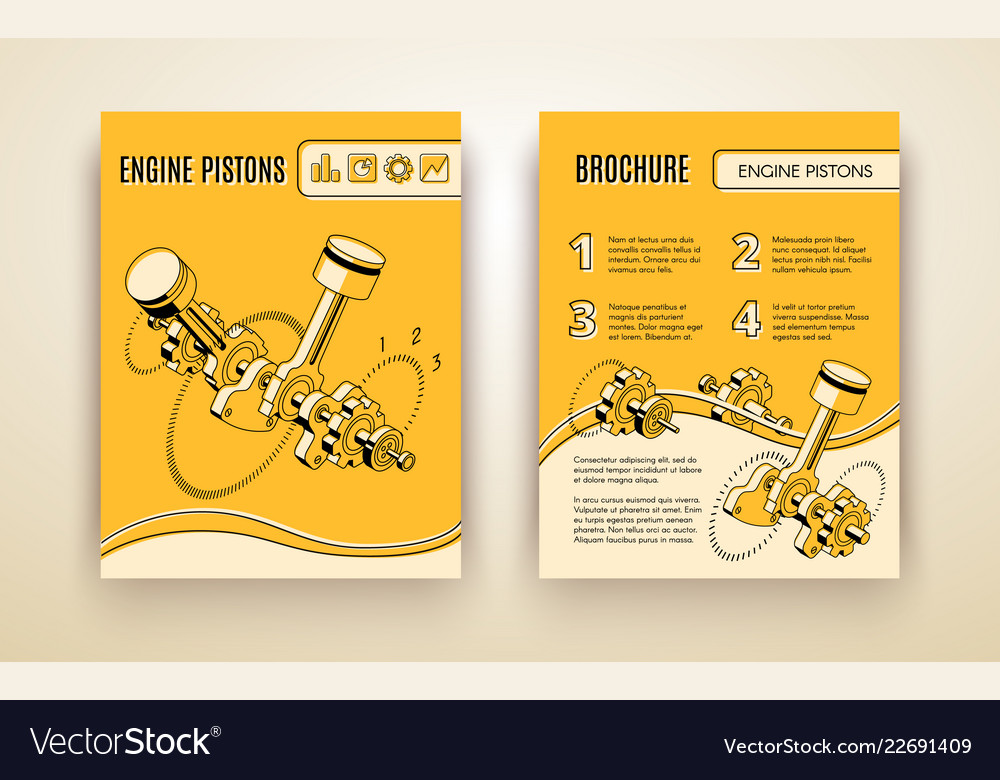 Engine pistons booklet isometric template