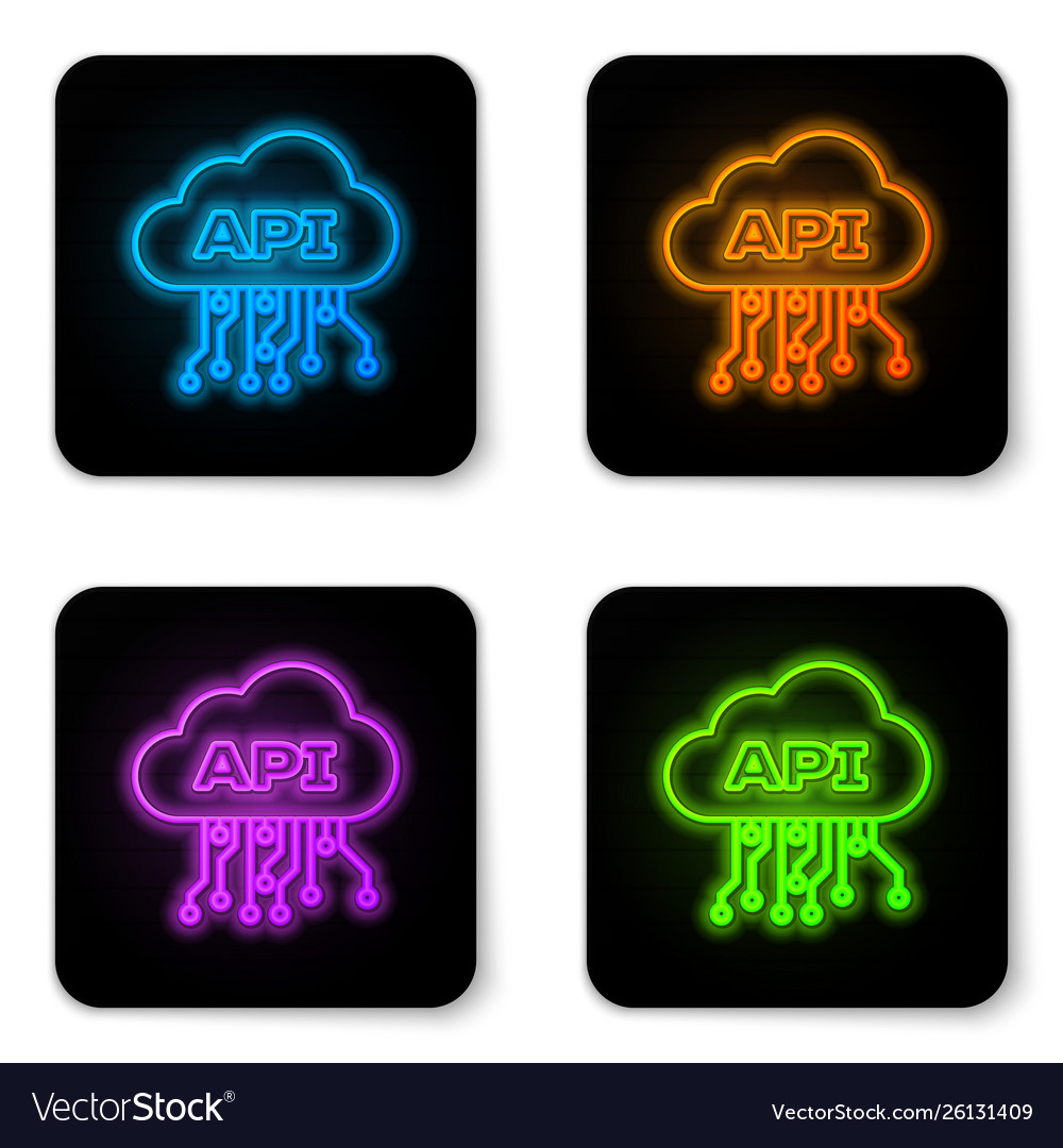 Glowing neon cloud api interface icon isolated on