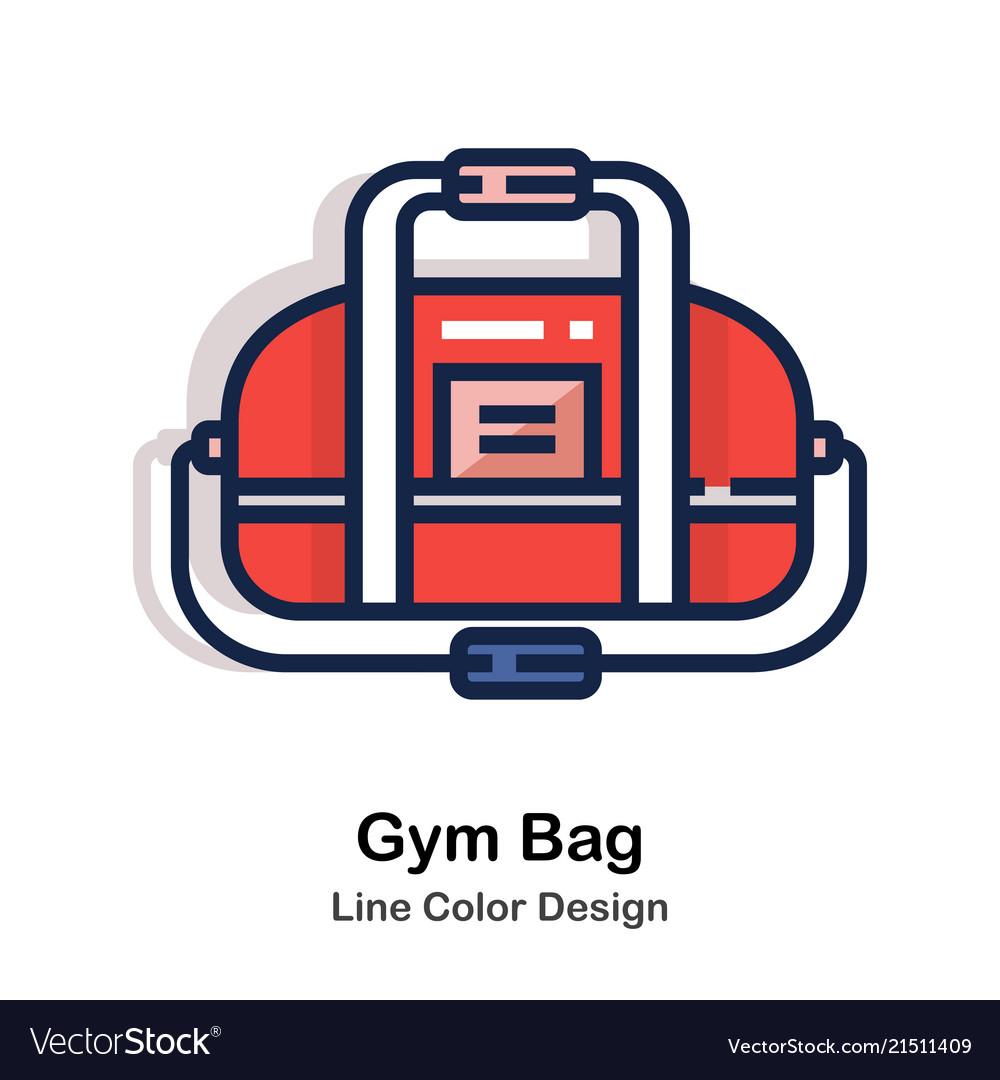 Gym bag line color Royalty Free Vector Image - VectorStock 0e5b2a6db3a2f