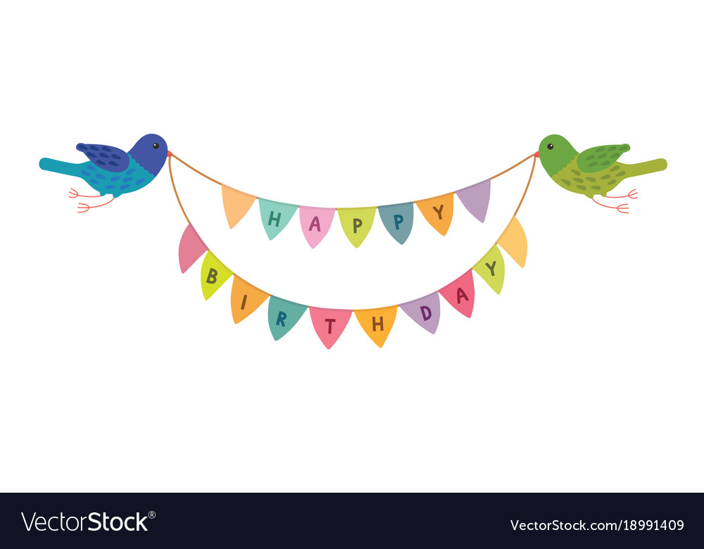 Happy birthday birds holding in their beaks the