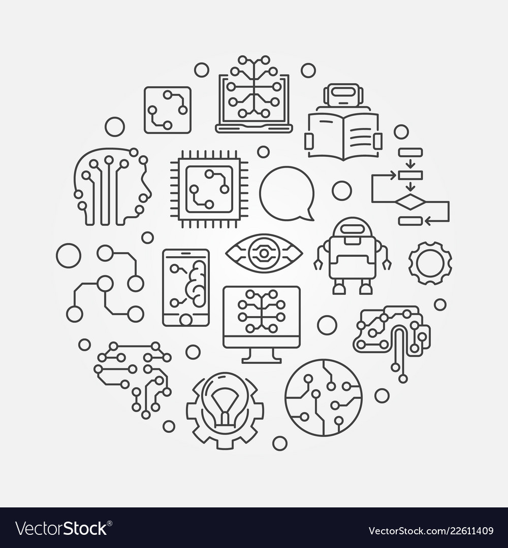 Machine Learning Circular In Royalty Free Vector Image