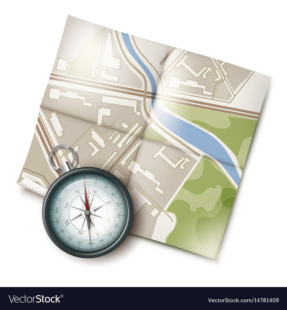 Map and compass vector image