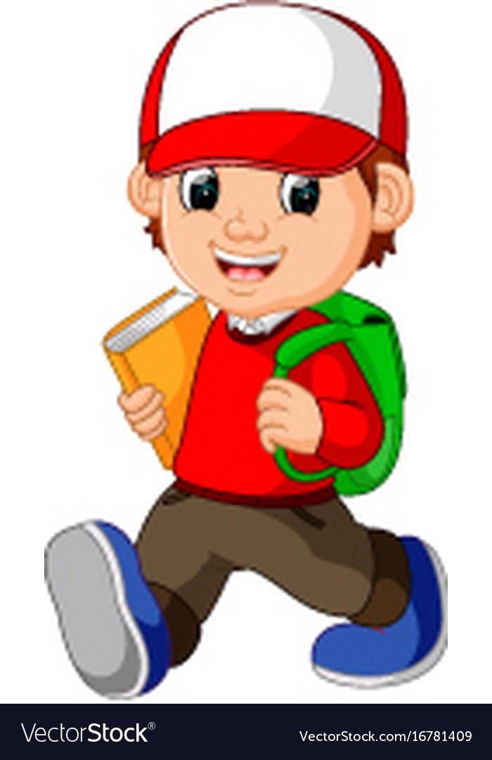 school boy cartoon walking royalty free vector image