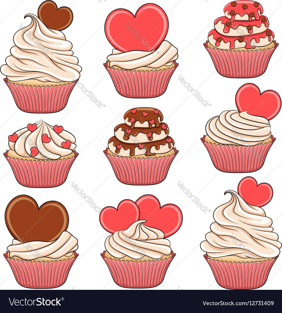 Set of color cupcakes with hearts