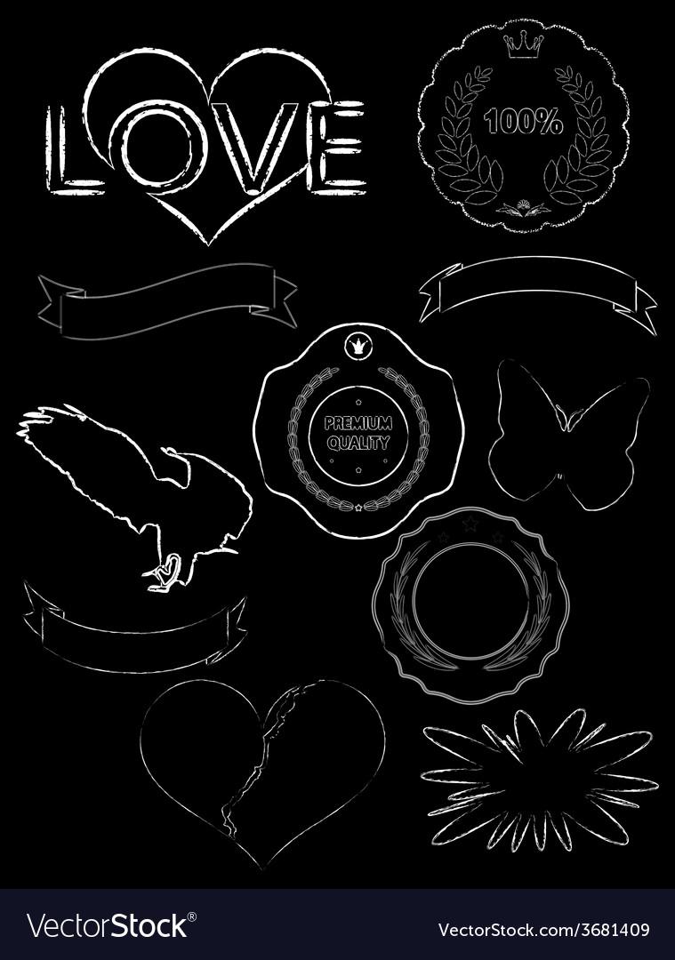 Set of old dark vintage labels of grunge style