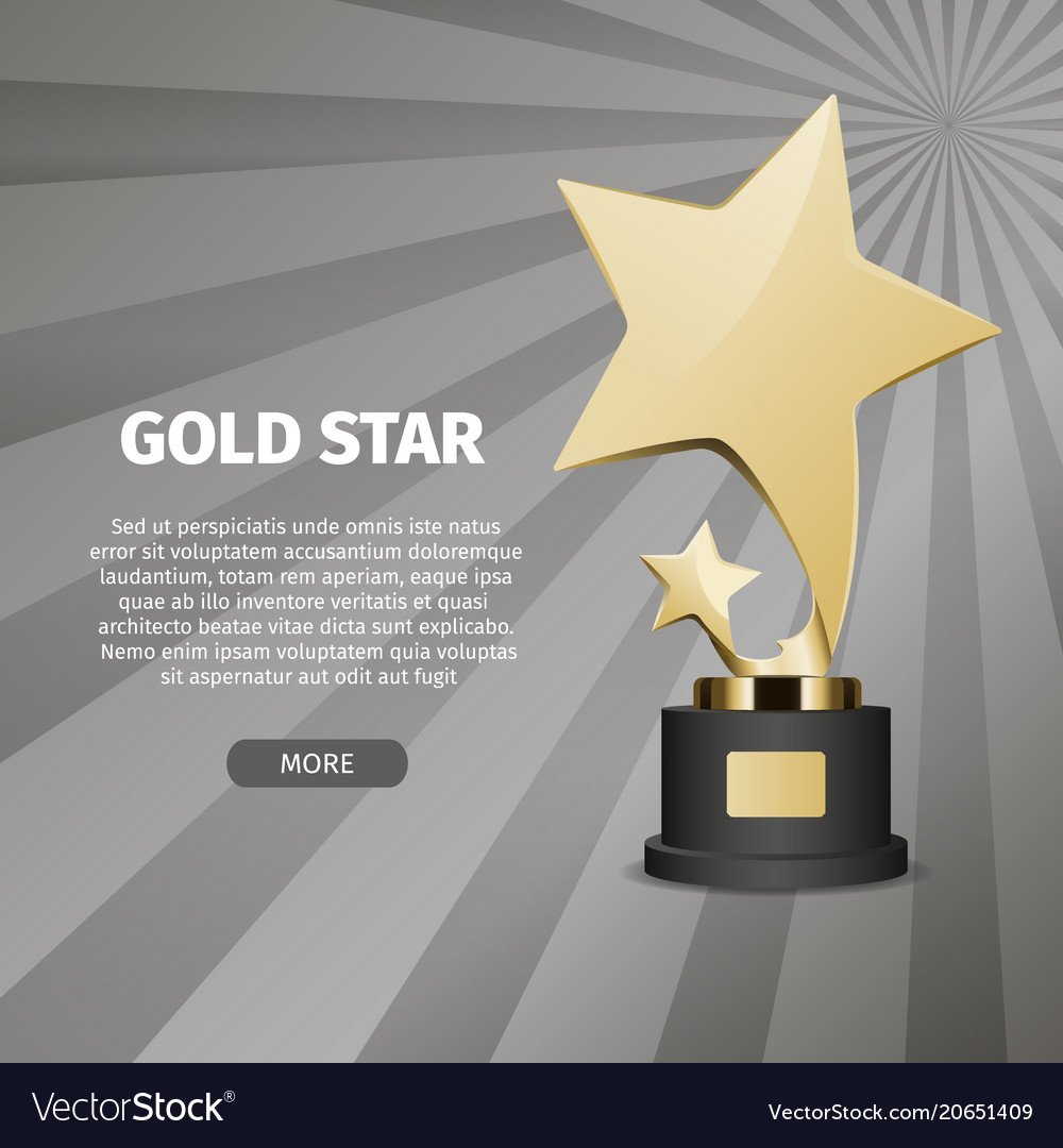 Shiny gold star on stand realistic