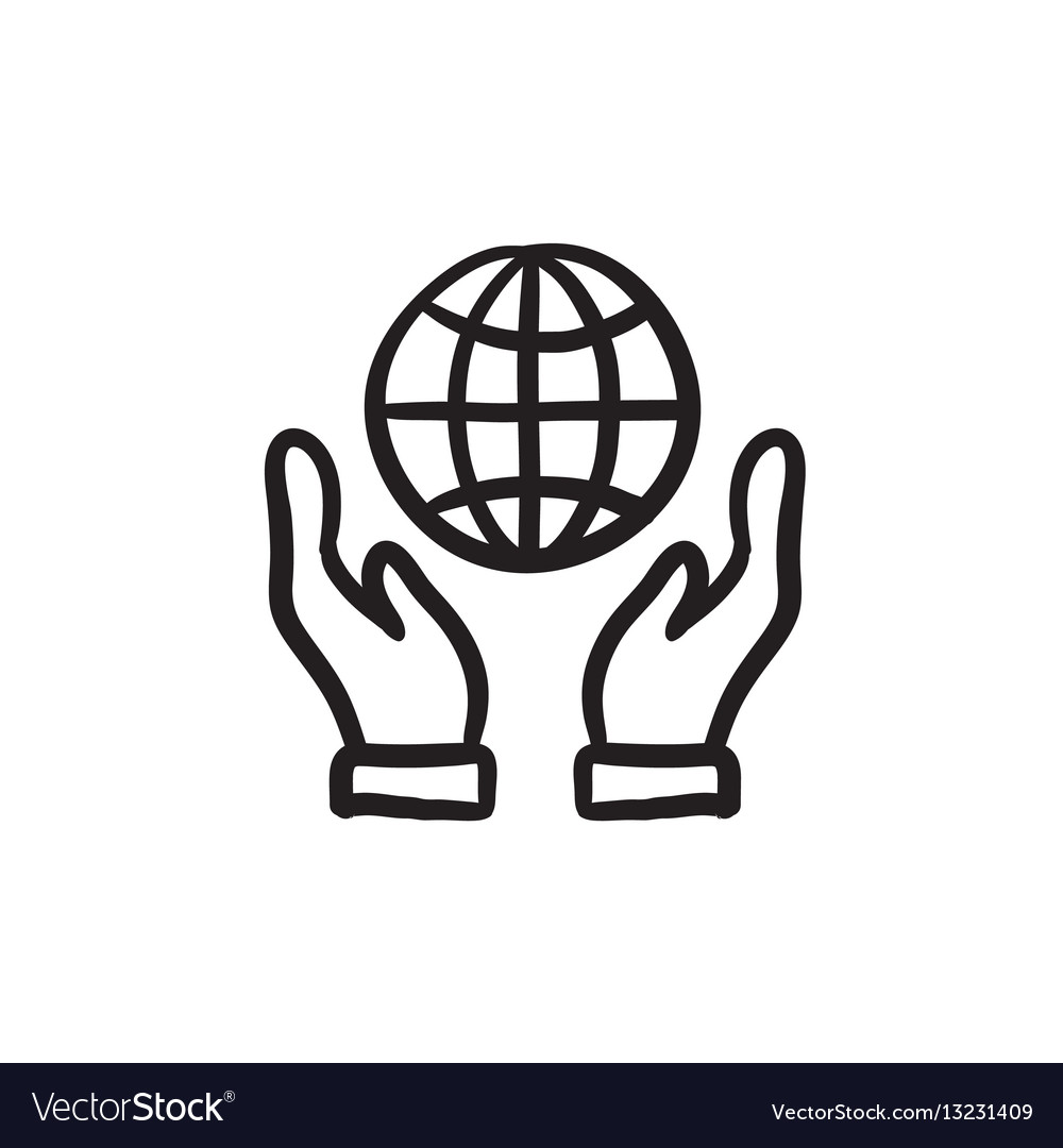 Two Hands Holding Globe Sketch Icon Royalty Free Vector