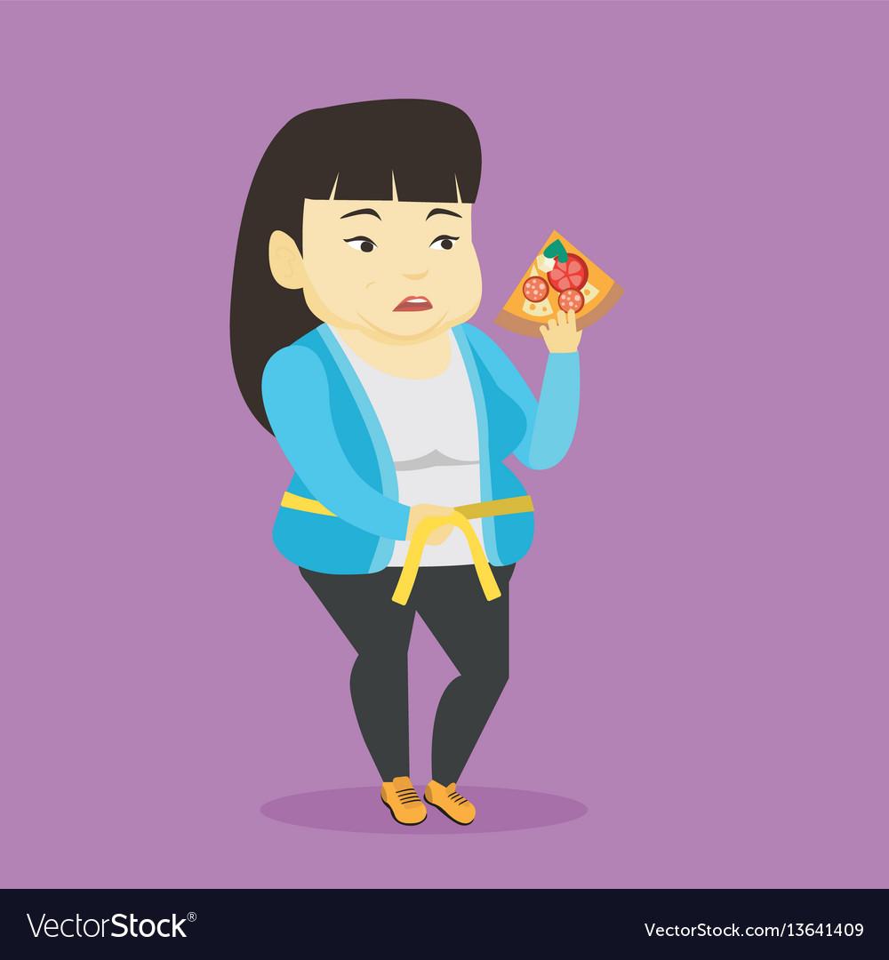 Woman measuring waist vector image