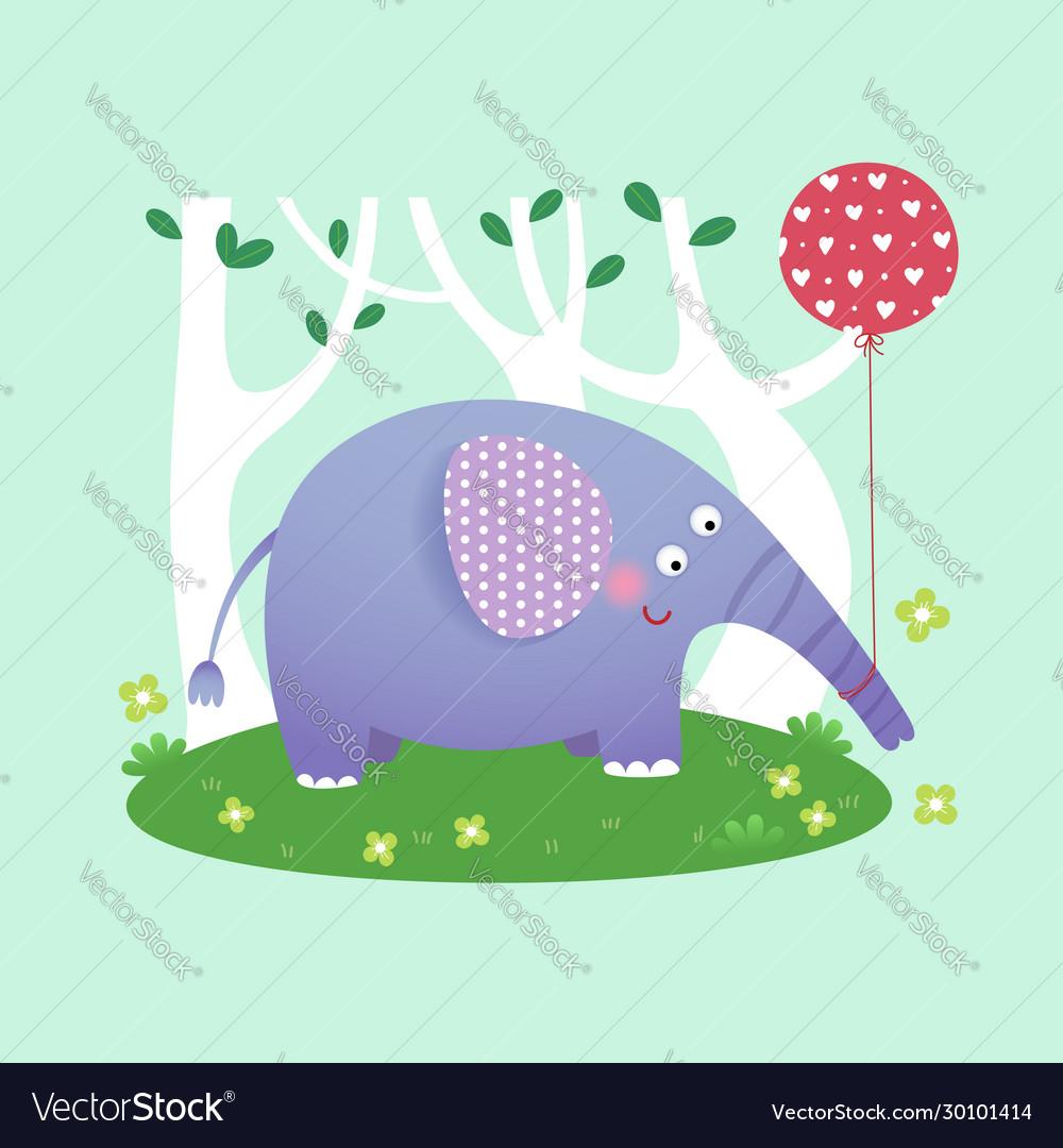 A cute elephant with a balloon