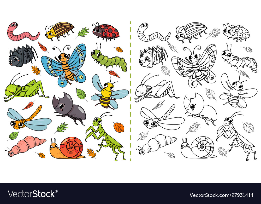 Cartoon insects color painting game draw cute