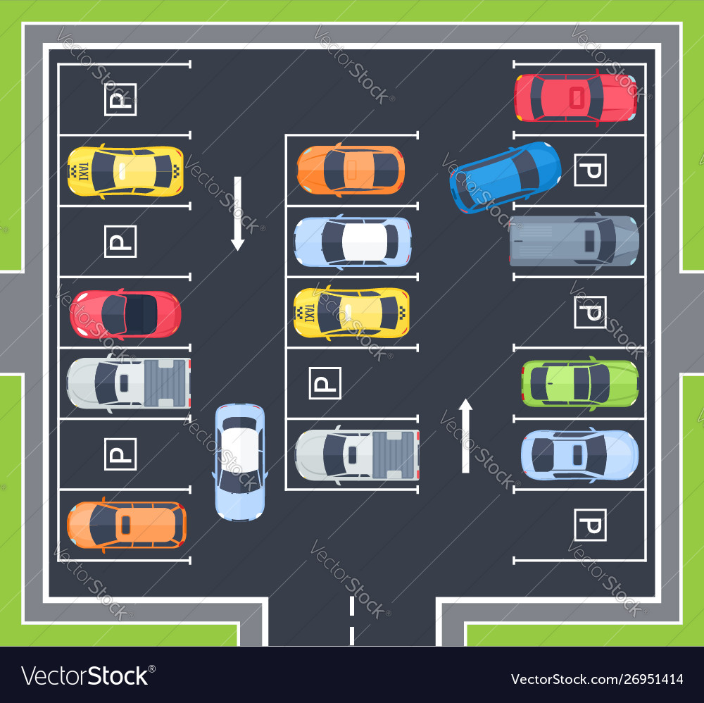 City top view parking with cars