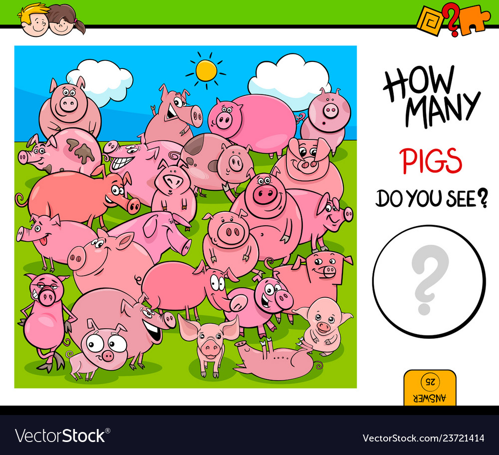 Counting pig characters educational activity