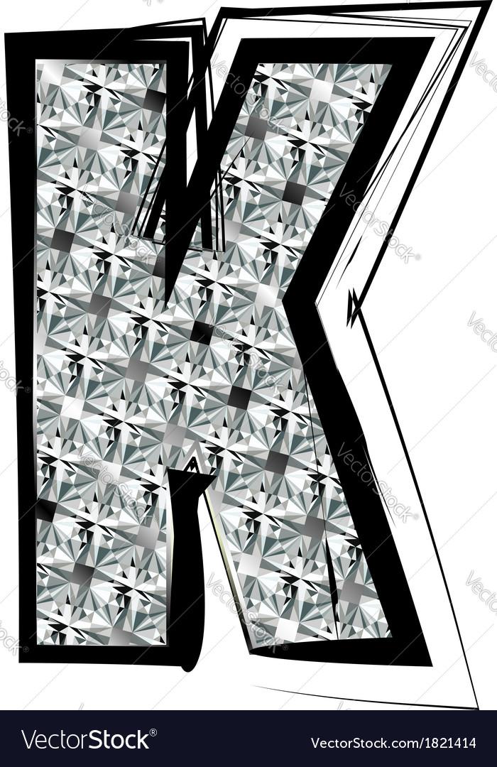 Diamond Font letter K vector image