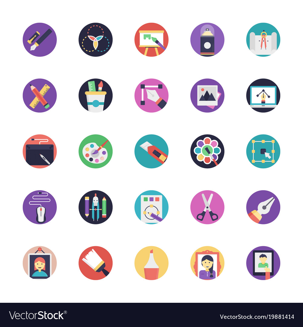 Flat icon set of art and design