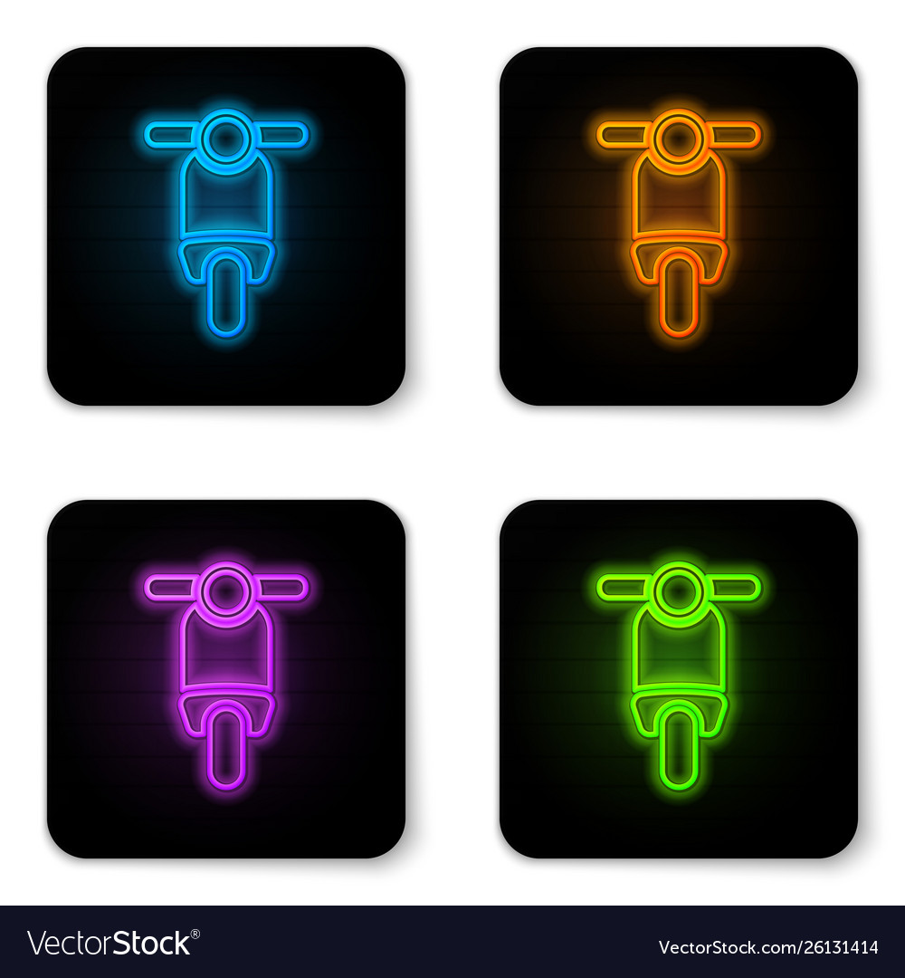 Glowing neon scooter icon isolated on white
