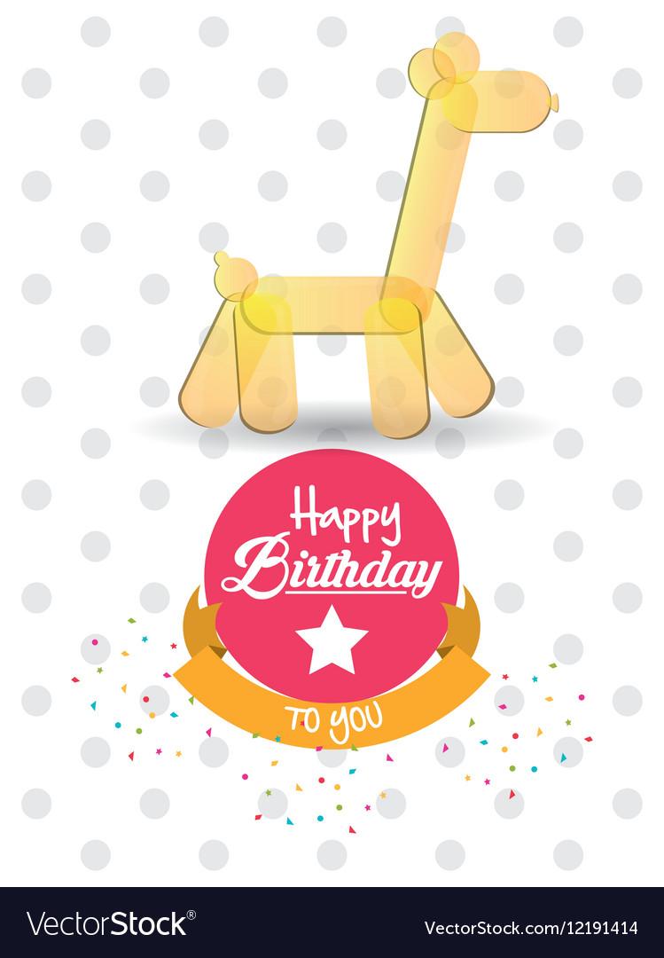 Happy birthday card giraffe ballon shape confetti vector image