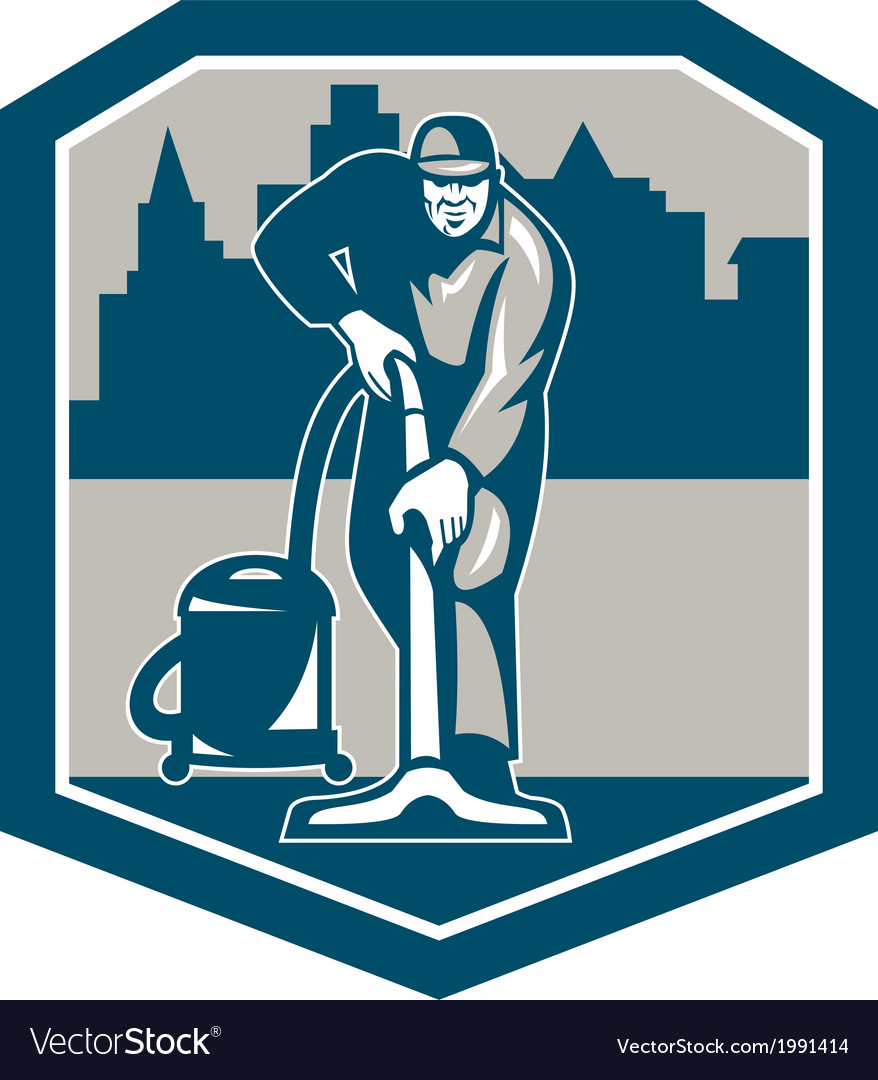 Janitor Cleaner Vacuum Carpet Cleaning Shield Vector Image