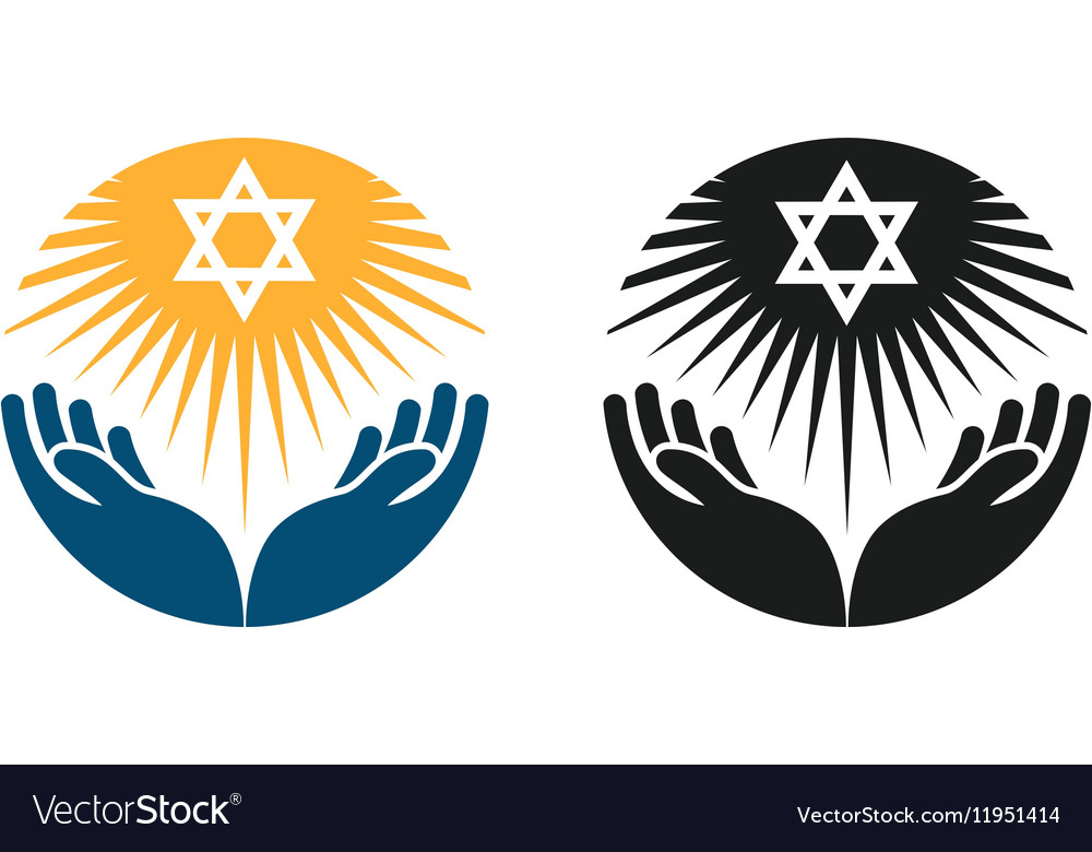 Judaism logo Star of David or Religion vector image