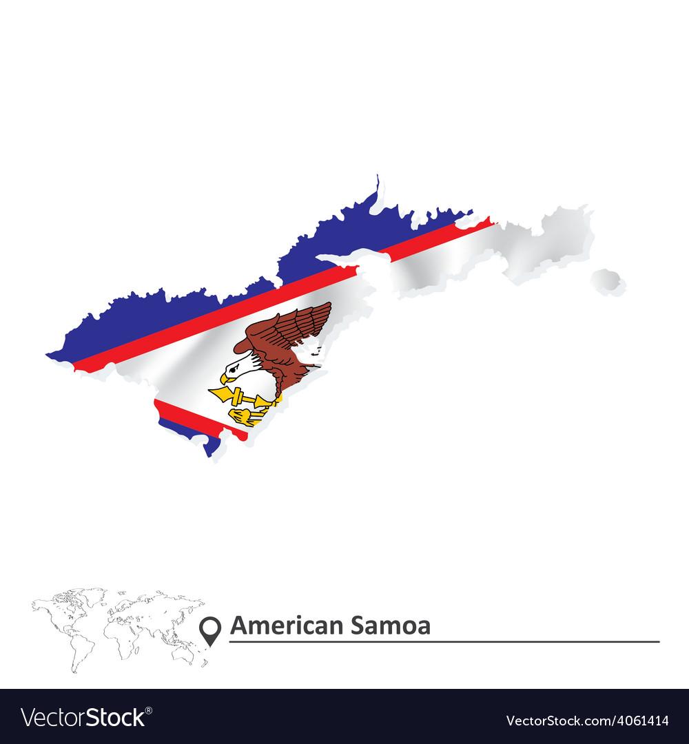 Map of American Samoa with flag Samoa Map Ofamerica on