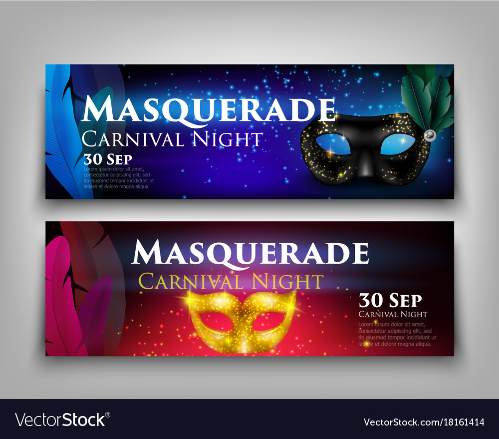 masquerade invitation banners royalty free vector image