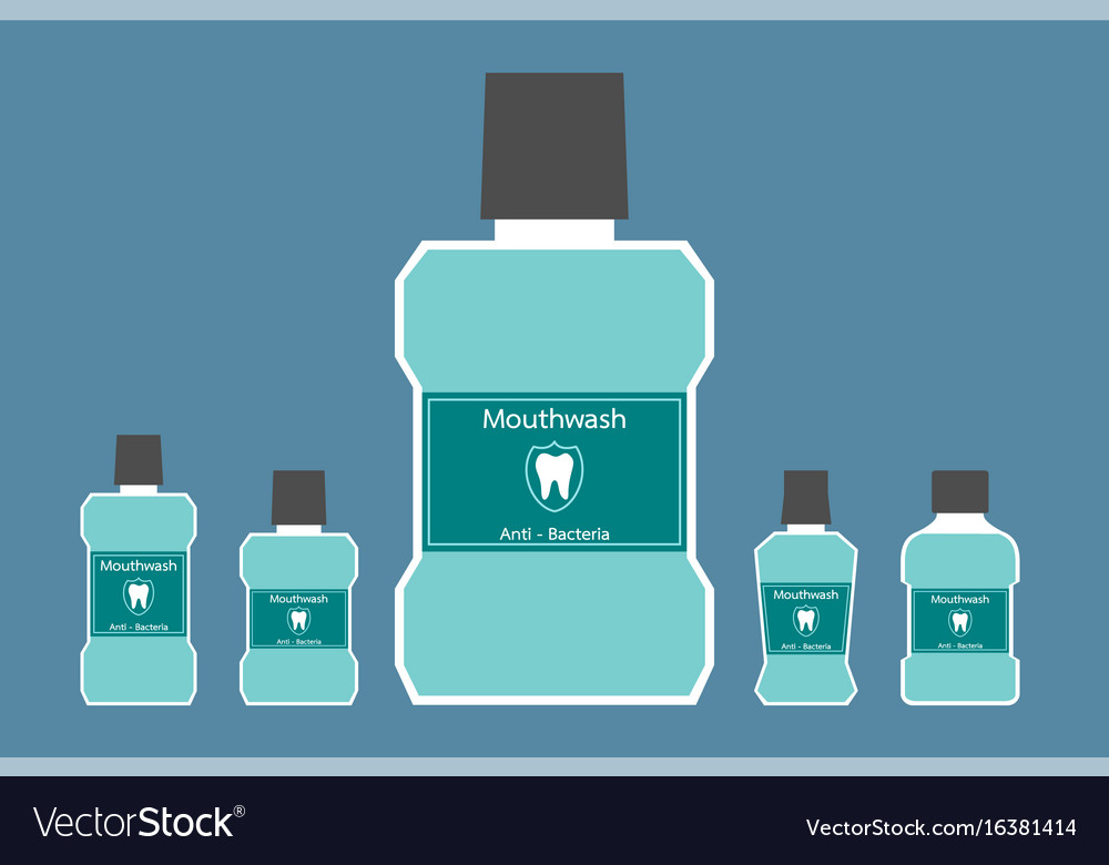 Mouthwash Bottle With A Tooth On Label Royalty Free Vector
