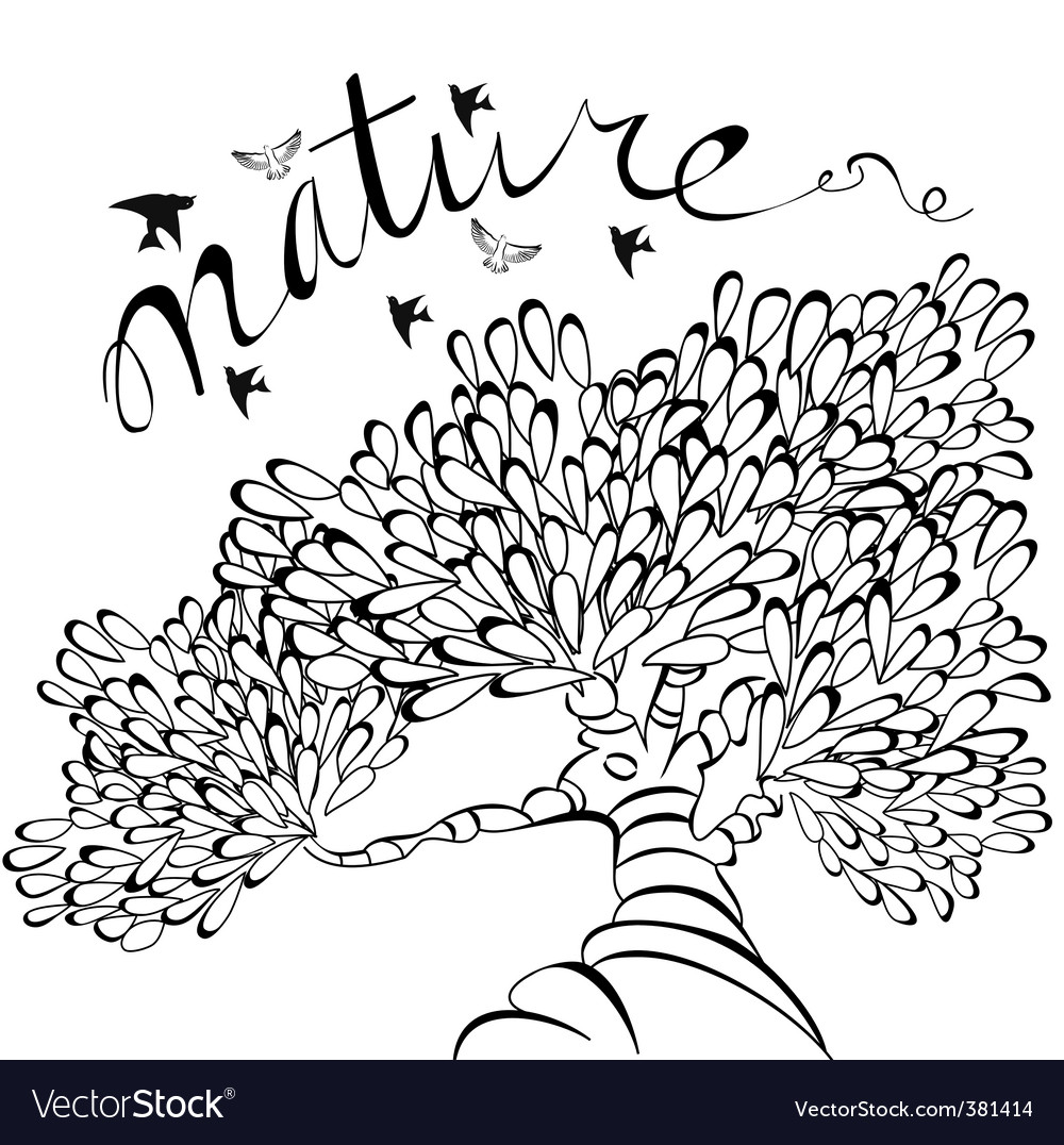 Sketch with tree vector image