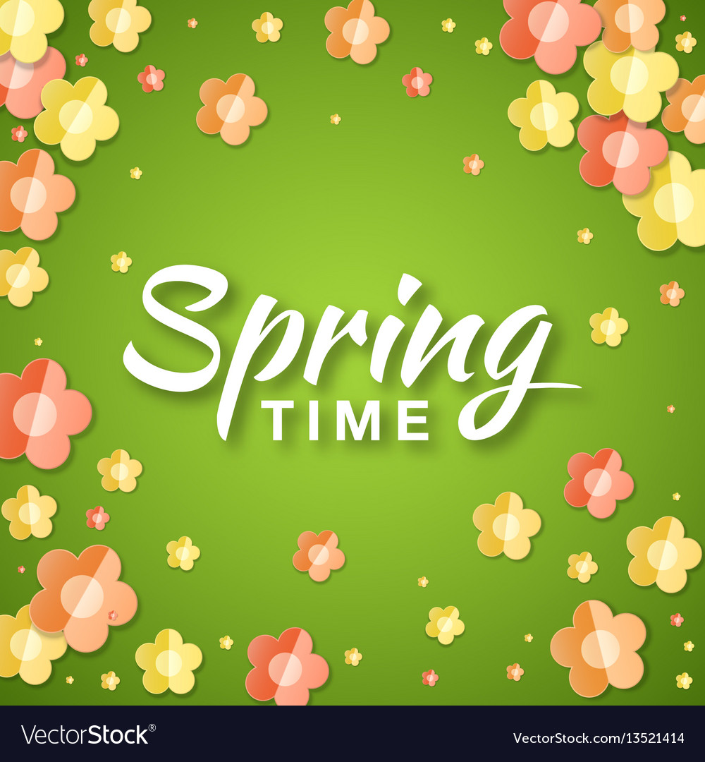Spring time banner background with paper flowers vector image mightylinksfo