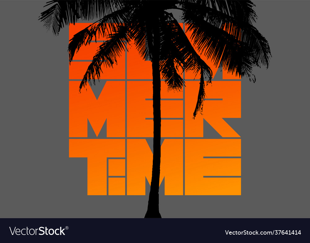 Summer time typographic vintage poster with palm