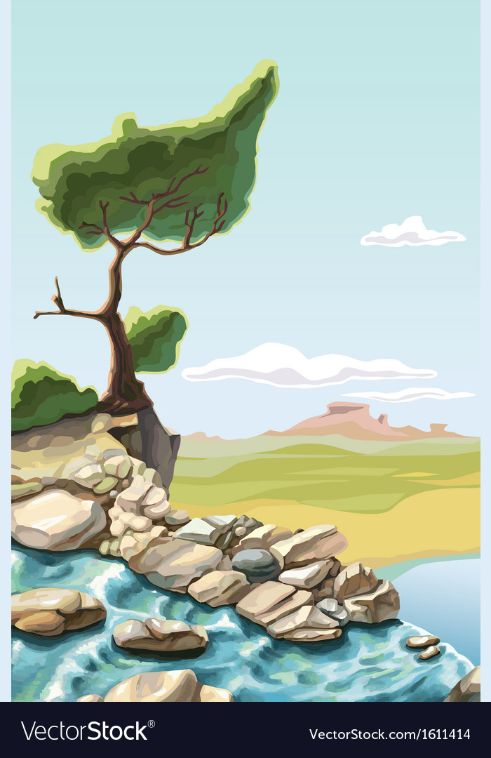 Tree above the Waterfall vector image