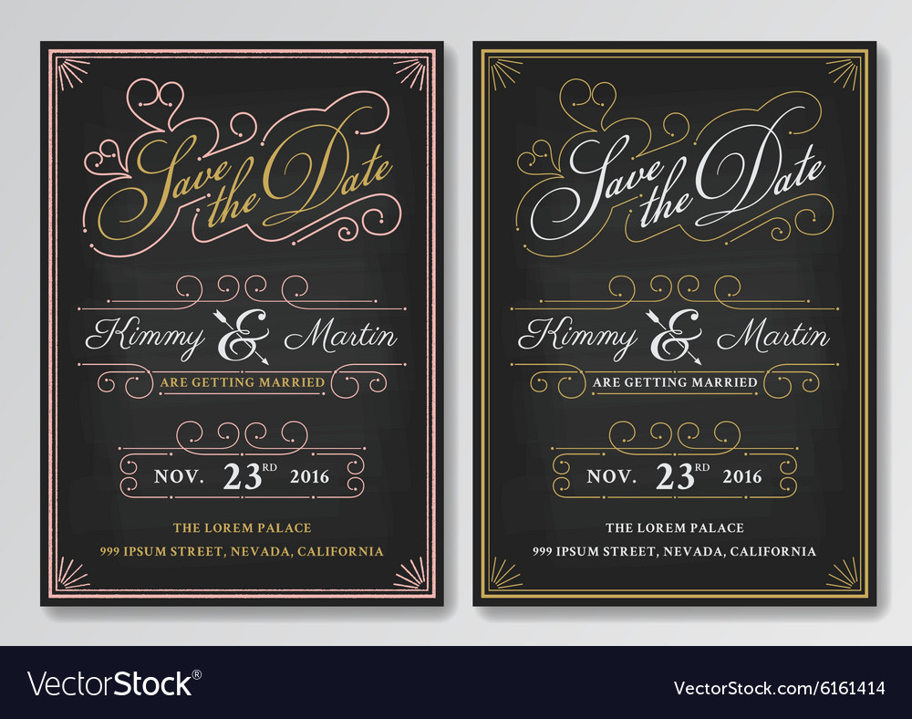 Vintage chalkboard save the date wedding