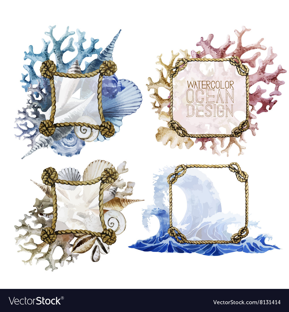 Watercolor rope frames with ocean design Vector Image