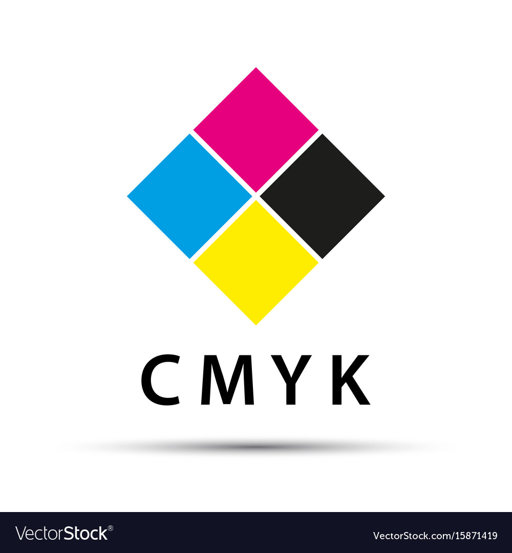 Abstract logo in the shape of a diamond with cmyk