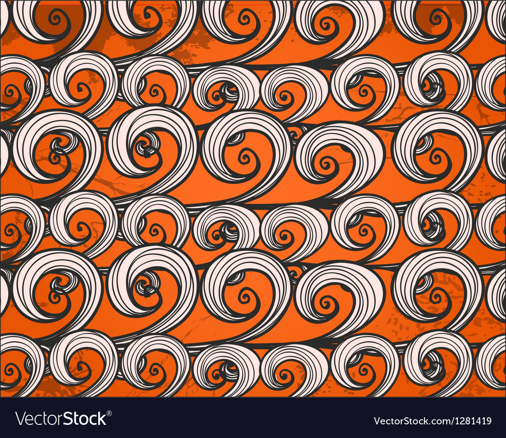 Background of hand-drawn sea waves vector image
