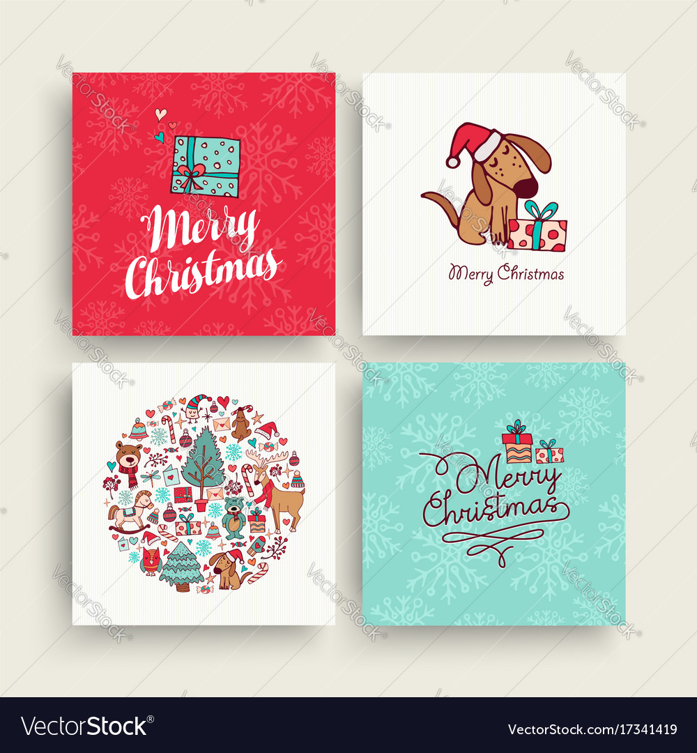Christmas cute hand drawn puppy holiday card set