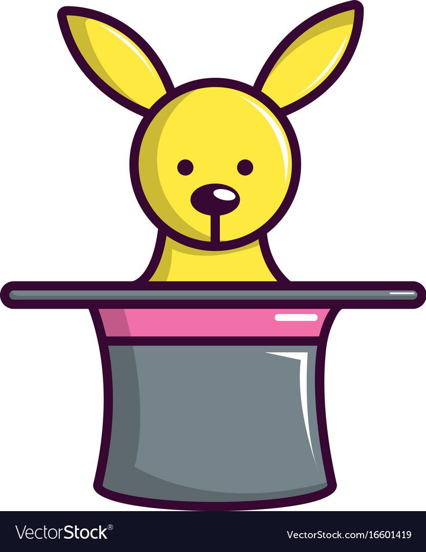 Cute bunny rabbit in magic hat icon cartoon style vector image