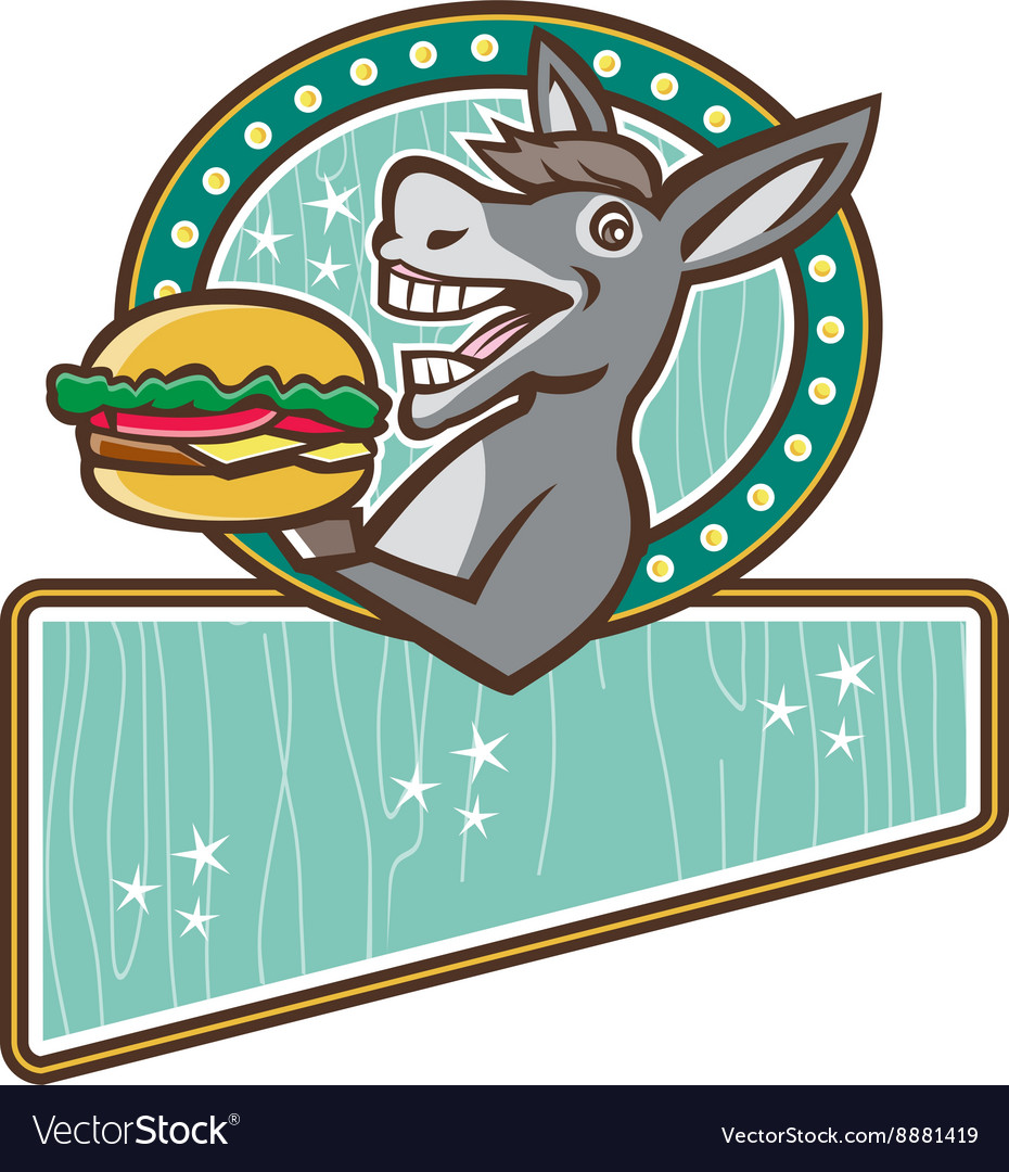 Donkey Mascot Serve Burger Rectangle Oval Retro vector image