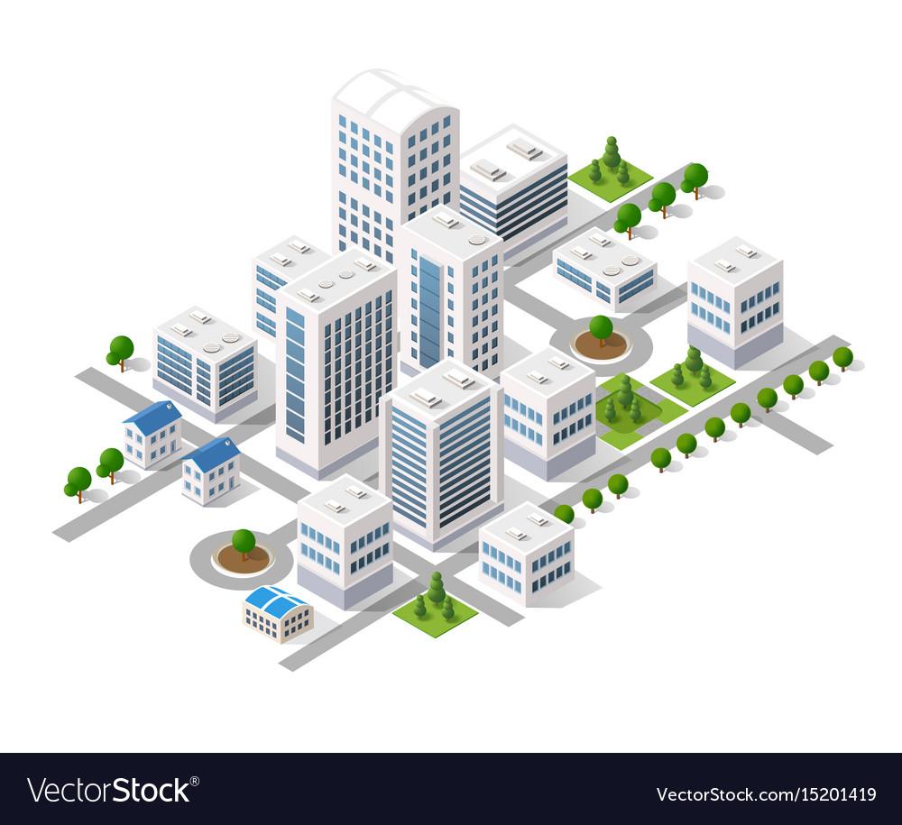Isometric 3d metropolis city quarter with streets