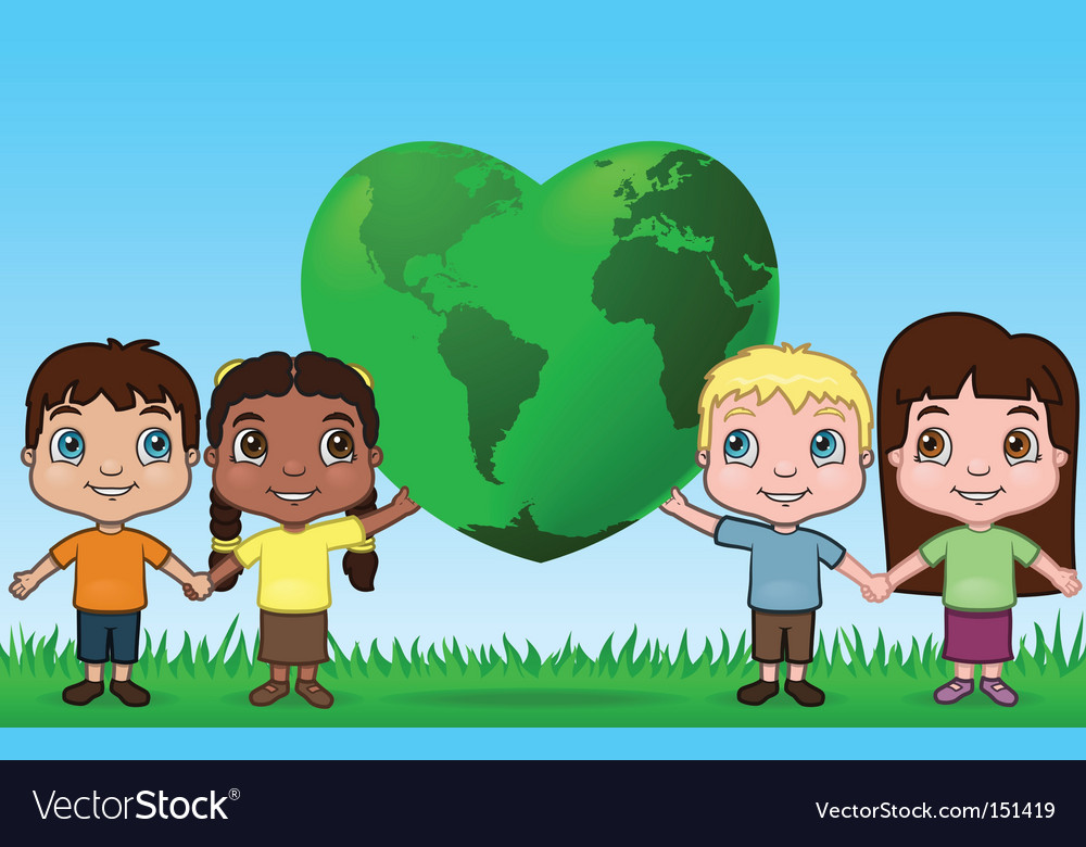 Kids holding up the world vector image