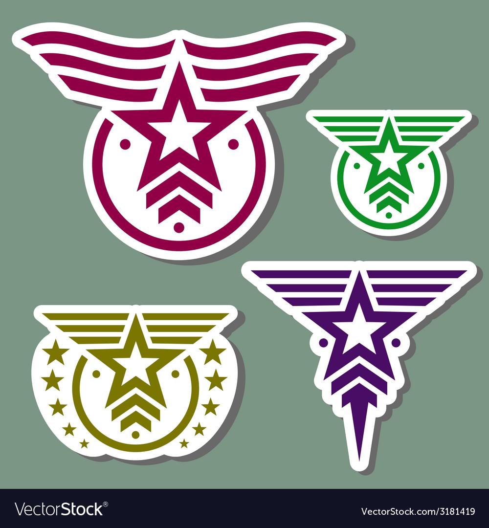 Military style logo set vector image