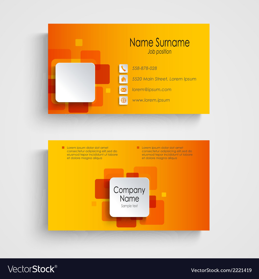 Modern Orange Square Business Card Template Vector Image - Square business card template