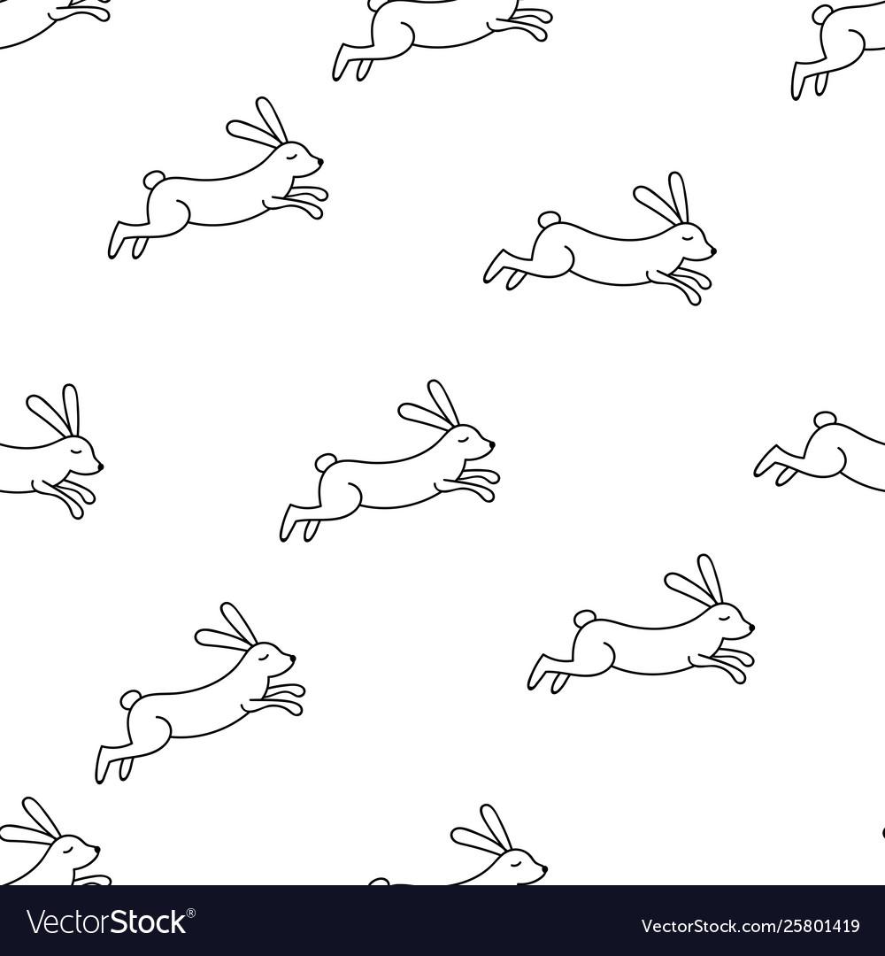Rabbit line seamless pattern
