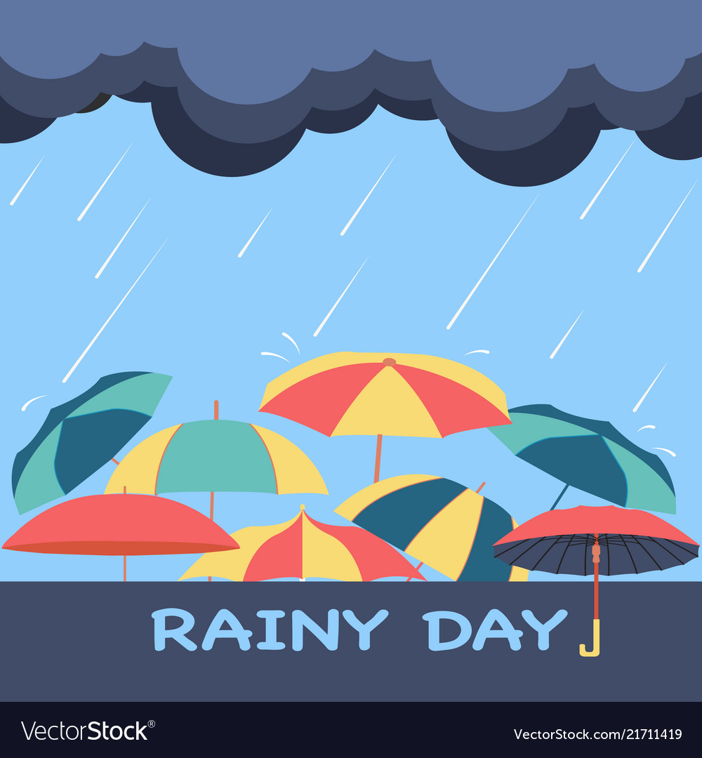 Rainy season background with clouds raindrops Vector Image